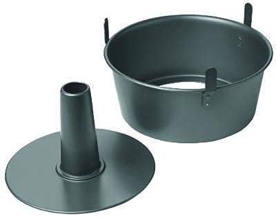"Chicago Metallic Professional 2-Piece 9.5-Inch Angel Food Cake Pan with Feet, 9.5"" x 4"", Black"