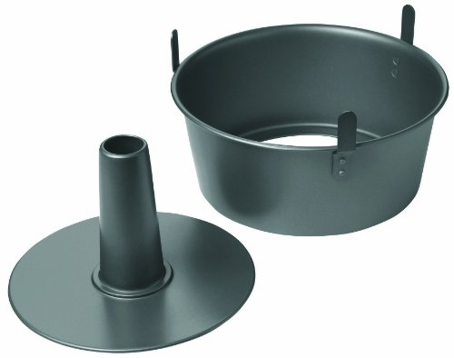 Chicago Metallic 16184 Professional 2-Piece 9.5-Inch Angel Food Cake Pan with Feet, 9.5' x 4', Black