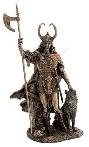 Loki Figur - Germanischer Gott mit Fenriswolf - Wikinger Veronese
