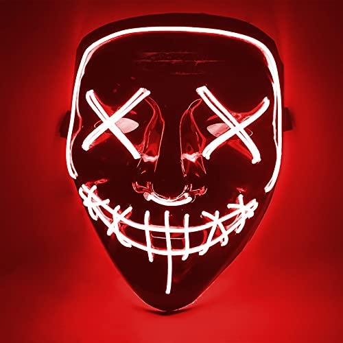 DANGZW Halloween Maske, LED Purge Maske im Dunkeln Leuchtend, Grusel Maske mit 4 Beleuchtungsmodi für Halloween, Fasching & Karneval, Cosplay Party Kostüm für Herren & Damen, Rot