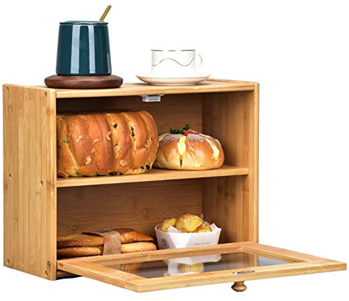 Lawei 2 Layer Bamboo Bread Box - Large Bread Box with Clear Window Countertop Bread Storage Bins for Kitchen Food Storage