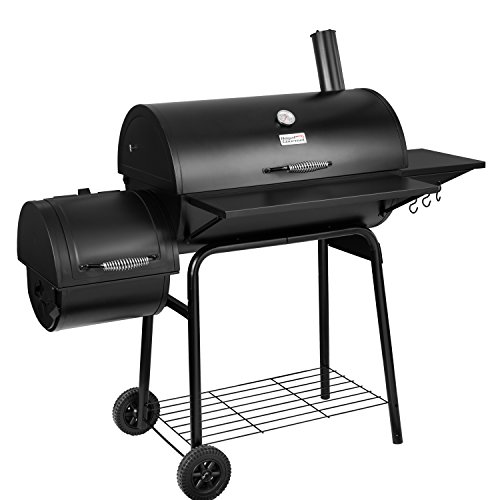 Royal Gourmet BBQ Charcoal Grill and Offset Smoker, 30'' L, 800 Square Inch, Outdoor for Camping, Black - Assembly Charcoal Features Free Grill Grills Home Kitchen UDS