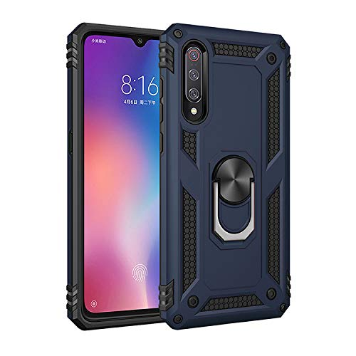 Dedux Case Compatible with Samsung Galaxy A50, [Tough Armor Series] Rugged Anti-Scratch PC back panel + TPU + Foldable holder.navy