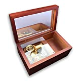 Play (Can't Help Falling in Love) Brown Wooden Music Box with Jewelry Box and Sankyo Musical Movement