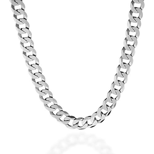 Quadri - Extra Shiny Cuban Link Chain 10 mm in 925 Sterling Silver Italian Diamond-Cut Necklace for Men - 18 to 30 Inch - Premium Quality Made in Italy Certified - Gift Box Included (24 Inches)