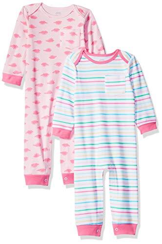 Amazon Essentials - Pack de 2 peleles para niña, Girl Dino, US 3-6M (EU 62-68)