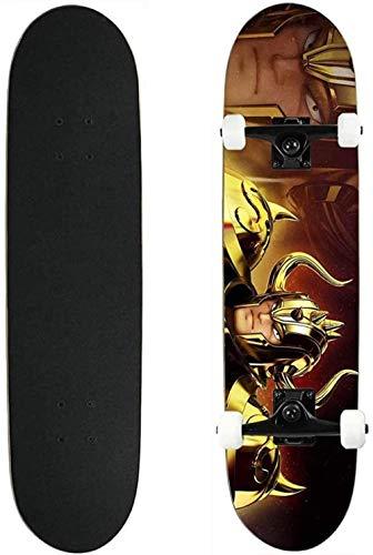 Vbnmda Skateboard Tablero Completo Saint Seiya Adecuado para Adolescentes Principiantes Niños Adulto Siete Capas Mapates de Arce por Freestyle Spruce Mini Streetboards