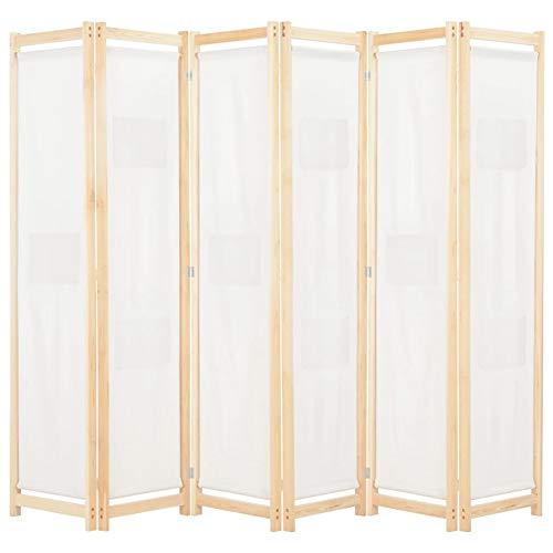 GOTOTOP - Divisor de 6 paneles, biombo plegable con 9 bolsas, divisor para habitaciones, paneles de viento, de madera maciza de abeto, color crema, 240 x 170 x 4 cm
