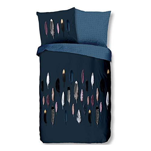 Good Morning! Feathers/Federn - Bettwäsche - 135x200 cm + 1 Kissenbezug 80x80 cm - Blau