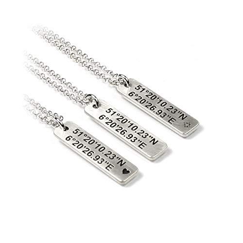 Gravurplatte EIN Anhänger mit Gravur Herz Koordinaten GEO Windrose Symbol eine 45 cm Kette beides aus 925 Silber individuelle Wunsch Gravur Namenskette Datum Initiale GPS GEO Koordinaten | PS64KE2