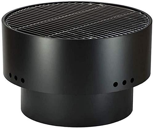 HLZY Chimeneas al aire libre para barbacoa de patio, parrilla quemada, cuenco para fuegos al aire libre – chimenea de acero negro – parrilla portátil para cocinar barbacoa – fácil de montar