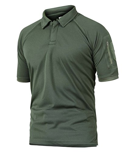CRYSULLY Male Spring Safari Fatigue Outdoors Polo Shirt Stylish Classic Climbing Sailing Field Woodland T-Shirt Army Green