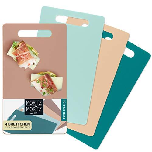 Moritz & Moritz 4x Tabla de Cortar Flexible 25 x 14,5 cm - Tabla Cortar Plástico 2mm de Grosor - Apta para Lavavajillas - Superficie Antideslizante para un Corte Seguro