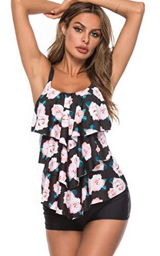 LAZOSAL Womens Ruffle Layered Tankini Two Piece Printed Swimsuits Tummy Control Bathing Suit