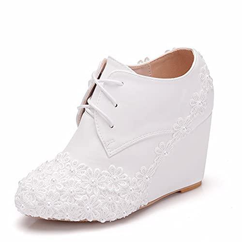 Zapatos De Novia para Mujer, Tacón De Cuña Punta Redonda Tacones Altos...