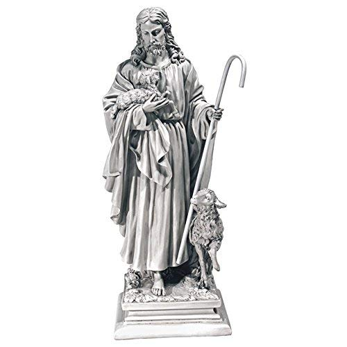 Design Toscano EU1785  Jesus the Good Shepherd Religious Garden Statue, Large, 28 Inch, Polyresin, Antique Stone