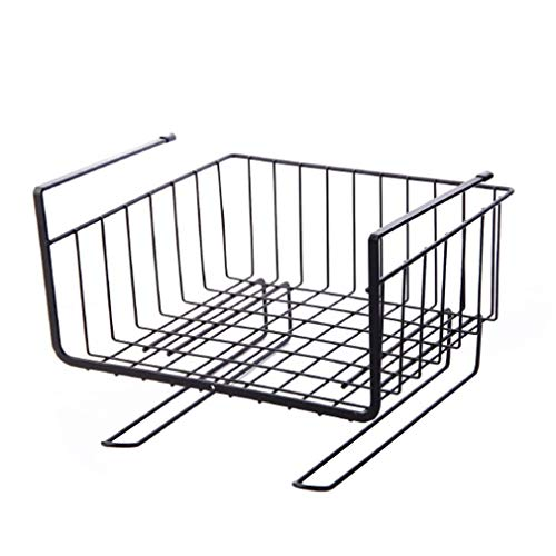 Metall unter dem Regal Finishing Desk Rack Partition Cabinet Hanging Basket (Schwarz)