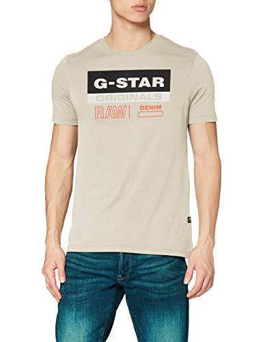 G-STAR RAW Originals Label Logo Slim Camiseta, Whitebait 336/1603, XL para Hombre