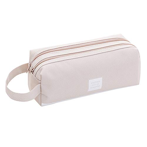 Gotian Creative Pencil Case Students Kids Brief Style Pure Color Large Capacity Pen Pencil Bag Stationery (Gray)