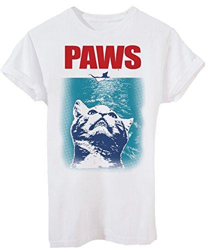 T-Shirt Jaws Paws Lo Squalo Gatto Cuccioli Topo Mouse - Divertente - Uomo-L-Bianca