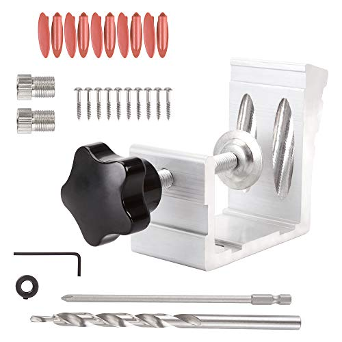 Pocket Hole jig,XOOL 25 Pcs 850 Heavy Duty All-In-One Aluminum Pocket Hole Jig Kit for Woodworking Angle Drilling Holes Carpenters Woodwork Guides Joint Carpentry Locator