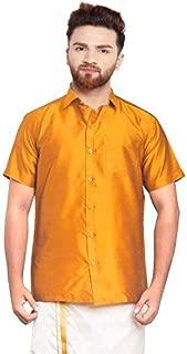 SJS-Men's Half Sleeve Solid Art Silk Shirt (Mustard, 36)