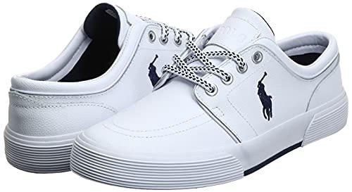 Polo Ralph Lauren Men's Faxon Low Sport Leather Fashion Sneaker, White, 12 D US