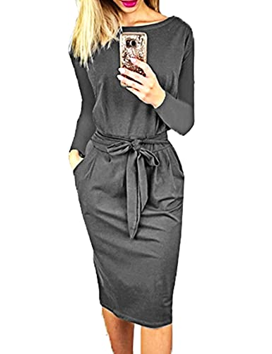 PRETTYGARDEN Women's 2021 Casual Long Sleeve Party Bodycon Sheath Belted Dress with Pockets