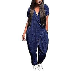 MenXu Women's Casual V Neck Short Sleeve Harem Jumpsuit Romper Solid Color Baggy Loose Pants with Pockets Blue