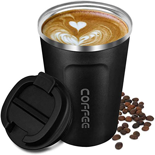 Artlive Isolierte Kaffeebecher, doppelwandige Isolierbecher Vakuumisolierung Edelstahl mit auslaufsicherem Deckel Umweltfreundliche Wiederverwendbare Thermobecher für Kaffee, Tee und Bier, 380ml