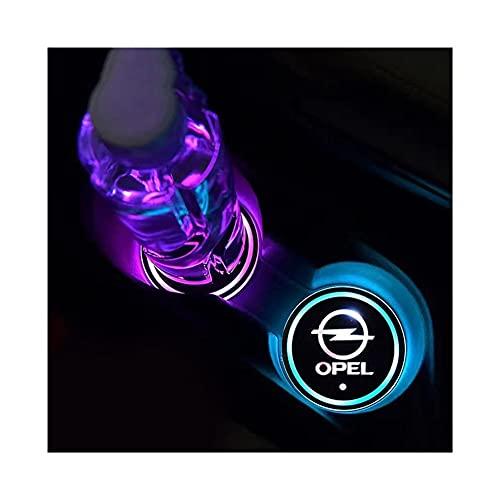 Posavasos LED Coche 2X LED LED Logo Holder Holder Pads RGB Cambiando USB Posuropeos de Carga para Opel Astra Vectra Insignia Antara Meriva Zafira para Auto Carga USB (Color Name : Opel)