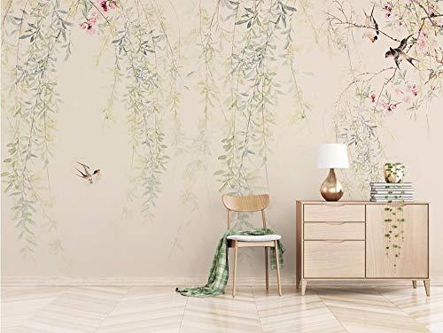 Papel Pintado Flor China Pintada A Mano De La Vid Flor Y Pájaro Fotomural 3D Mural Pared Moderno Wallpaper