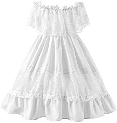 Fioukiay Toddler Girl Wedding Princess Maxi Dress Boho Off Shoulder Lace Ruffle Dress Gowns product image