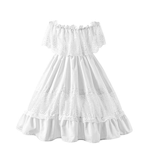 Fioukiay Toddler Girl-Wedding-Princess-Maxi-Dress Boho Off Shoulder Lace Ruffle Dress Gowns Holiday Dresses (White, 8T)