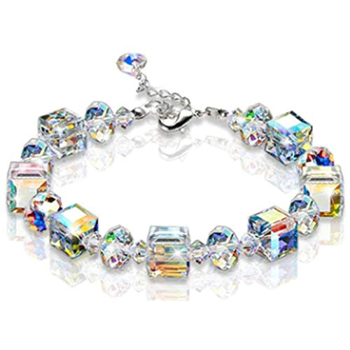 Saicowordist Women Jewellery, Romance Women Bracelet, Aurora Borealis Crystal, with Extender Chain, Gift Wrapping, Best Gift for Women Girls(Multi-1)