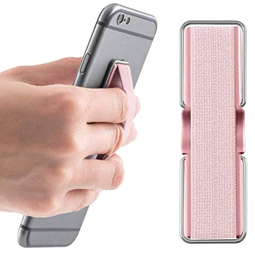 AOLEY Elastic Finger Holder for Phones, Cell Phone Grip | Phone Handle | Finger Strap with Stand for iPhone Android Smartphone Small Tablet (Rose Gold)
