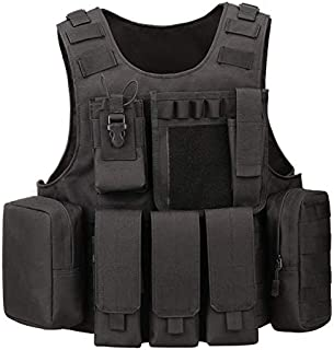 Tactical Molle Vest Light-Weight Breathable Black Airsoft Vest with Adjustable Pouches for Adult and Youth