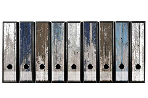 codiarts Set van 9 stuks brede ordneretiketten - oude houten planken maritiem vintage - zelfklevende folie (ordnerrugsticker sticker)