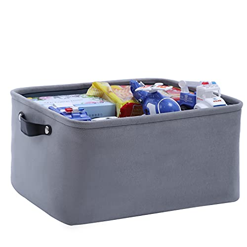 FENQDOOU Folding Storage Bin Storage Box with Handle Open Storage Baskets Suitable for Office Bathroom Family Room Baby Room Toy Room Living Room Clothes Toys Towels 15.7x11.8x8.2 inches(Grey)