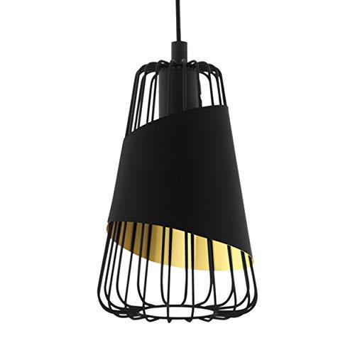 EGLO Lámpara colgante Austell, 1 lámpara colgante industrial, vintage, lámpara colgante de acero y tela en negro, dorado, lámpara de comedor, lámpara colgante con casquillo E27, diámetro 16,5 cm