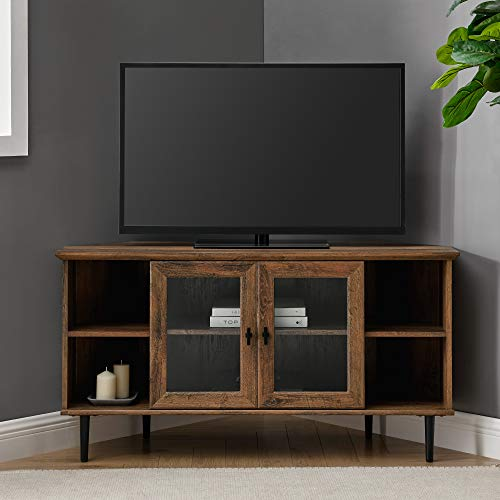 """Walker Edison Modern Wood Corner Universal Stand with Open Shelves Glass Cabinet Doors TV's up to 55"""" Flat Screen Living Room Storage Entertainment Center, Without Fireplace, Rustic Oak"""