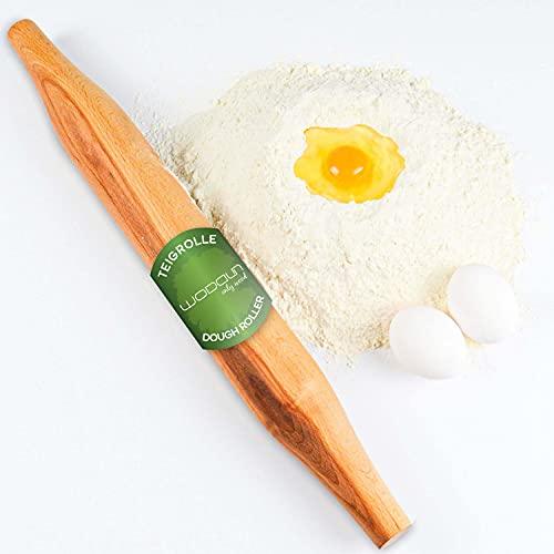 WODDUN Rodillo de madera para amasar y pizza, resistente, profesional, con pin, utensilio de cocina de madera, 48 cm x 5,5 cm x 5,5 cm