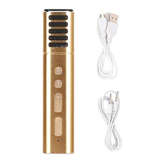 Lazmin112 A9 Kabelgebundenes Kapazitives Mikrofon, Tragbares Mikrofon mit Soundkarten-Sprach-Podcasting, Verschiedene Sounds, für Karaoke-Konferenzen, für Smartphones und Tablets(Gold)