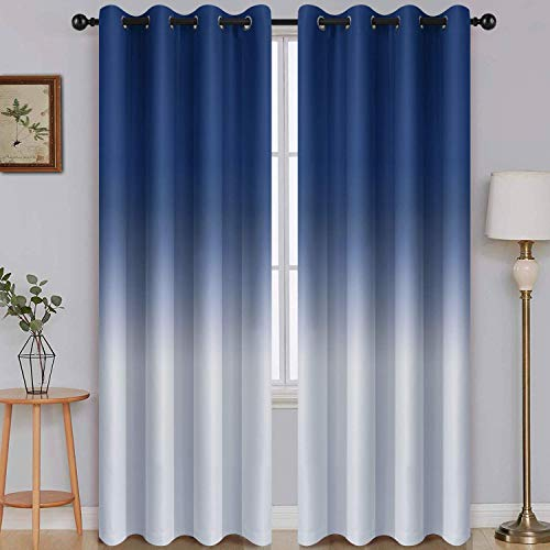 SimpleHome Ombre Room Darkening Curtains for Bedroom, Light Blocking Gradient Blue to Grey White Thermal Insulated Grommet Window Curtains /Drapes for Living Room ,2 Panels, 52x84 inches Length