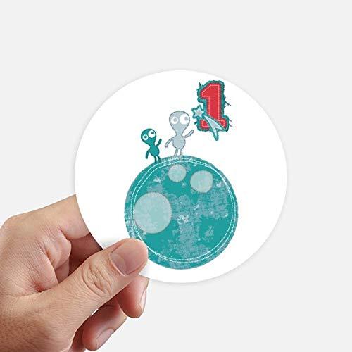 DIYthinker Univers et Le Monstre Alien sur Terre adhésifs Ronds de 10 cm Mur Valise pour Ordinateur Portable Motobike Decal 8Pcs diamètre 10cm Multicolor