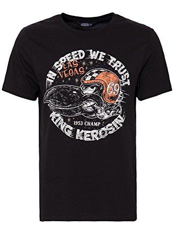 King Kerosin Herren T-Shirt Retro Front Print In Speed We Trust Rundhals Kurzarm In Speed We Trust
