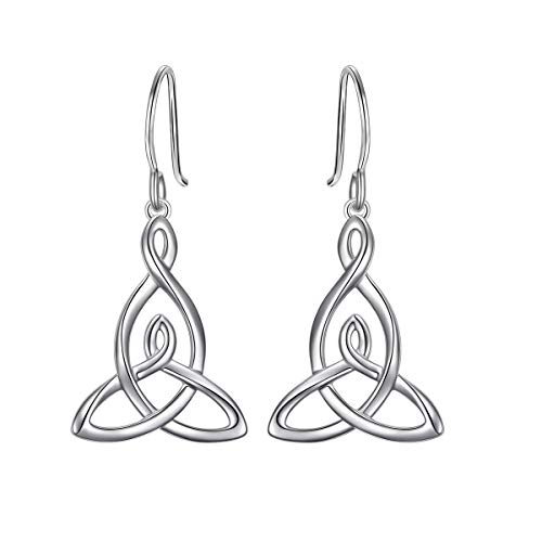 S925 Sterling Silver Irish Good Luck Celtic Mother and Child Knot Drop Dangle Earrings for Women Teen Girls