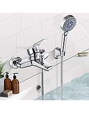 Badkuipkraan met handdouche badkraan waterkraan incl. wandhouder doucheslang chroom