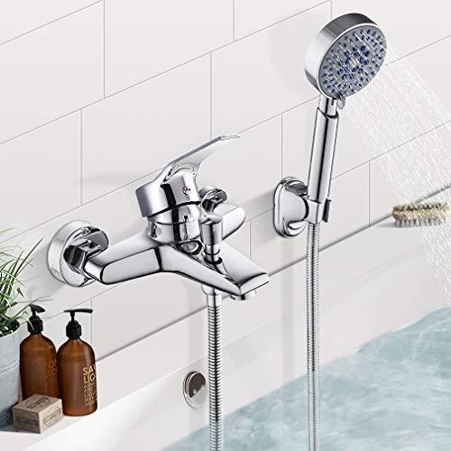 BONADE Wannenarmatur Badewannenarmatur mit 5 Strahlarten Handbrause Duscharmatur Inkl. Umsteller Schlauch Halterung Einhand-Wannenbatterie Mischbatterie aus Messing Aufputz Wandmontage