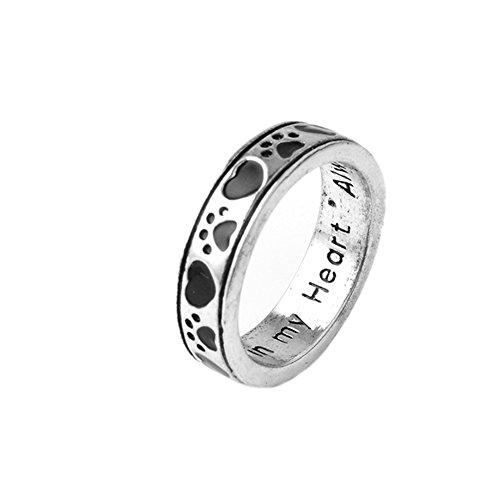 Fengteng Herren Damen Ringe Gravur Always by my side forever Herz Pfote Ring Herzform Hund Tatze Fingerring Liebe Tier Kralle Ring Schmuck und Geschenk (57 (18.1))